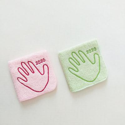 世界に一つの手形刺繍ハンドタオル
